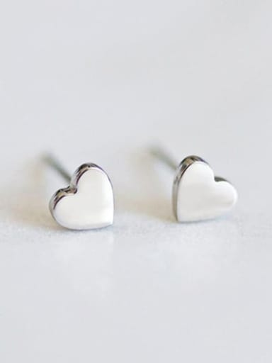 Steel color Stainless steel Heart Minimalist Stud Earring