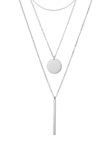 Steel color Stainless steel Round Minimalist Necklace