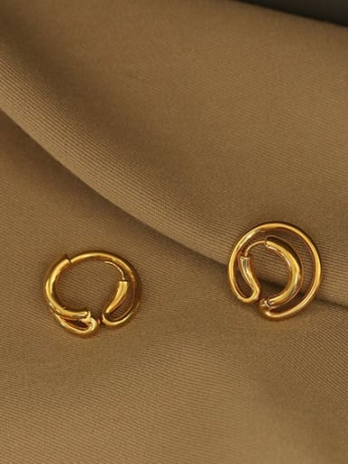 Double ring lug (vacuum plating) Brass smooth Geometric Vintage Drop Earring