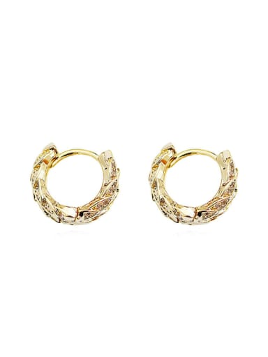 Brass Cubic Zirconia Geometric Ethnic Huggie Earring