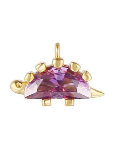 Purple (gold) Brass Cubic Zirconia Multi Color  Dragon Cute DIY Charms