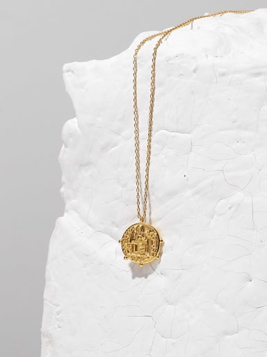 Brass  Vintage Embossed round card  Coin Pendant Necklace
