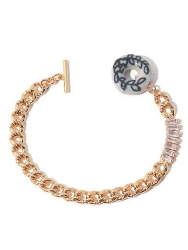 golden Brass Cubic Zirconia Hollow Geometric  Chain Vintage Link Bracelet