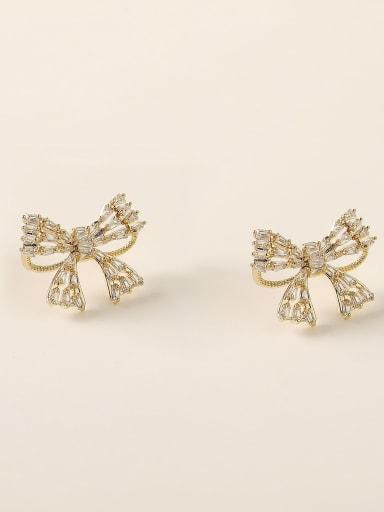 Brass Cubic Zirconia Bowknot Vintage Stud Earring