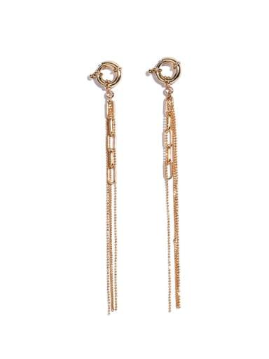 Brass Tassel Vintage Long Huggie Earring