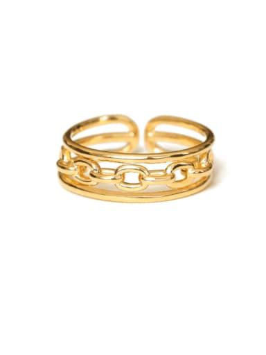 Brass Hollow Geometric Vintage Midi Ring