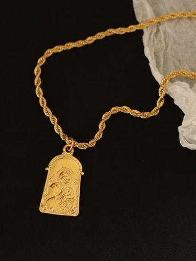 Brass Geometric Hip Hop Long Strand Necklace