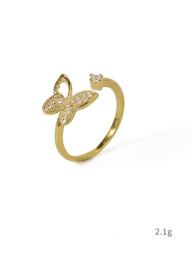 Section 2 Brass Cubic Zirconia Butterfly Vintage Band Ring