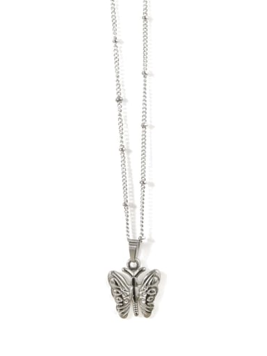 steel narrow Butterfly Titanium Steel Butterfly Vintage Necklace