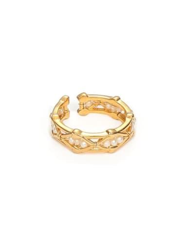 Hollow ring Brass Imitation Pearl Geometric Minimalist Band Ring