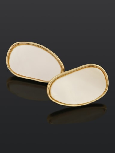 Pea shape (ear clip) Brass Shell Geometric Minimalist Stud Earring