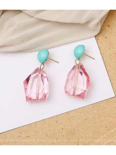 Pink Copper Crystal Geometric Dainty Drop Earring