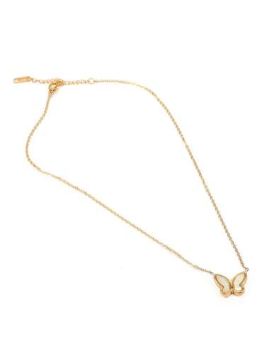 big Brass Shell Butterfly Minimalist Necklace