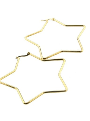 gold-plated Stainless steel hollow Star Minimalist Chandelier Earring