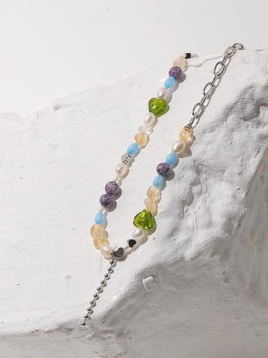 Brass Imitation Pearl Geometric Hip Hop Beaded Necklace