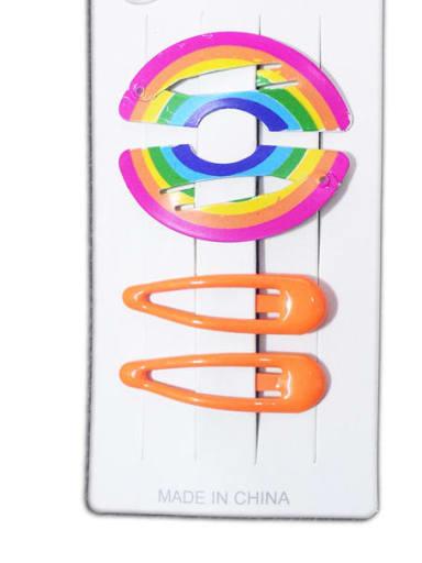 rainbow Alloy Multi Color Enamel Cute Water Drop  Hair Barrette