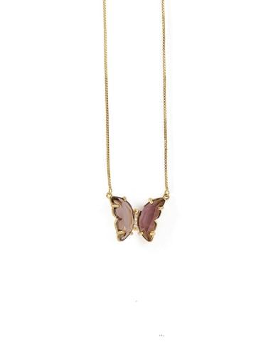Dark purple Necklace Brass Glass Stone Butterfly Minimalist Pendant Necklace