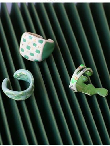 Zinc Alloy Enamel Geometric Minimalist Band Ring