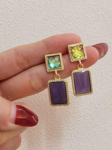 14k Gold+ Purple Brass Resin Geometric Vintage Drop Earring