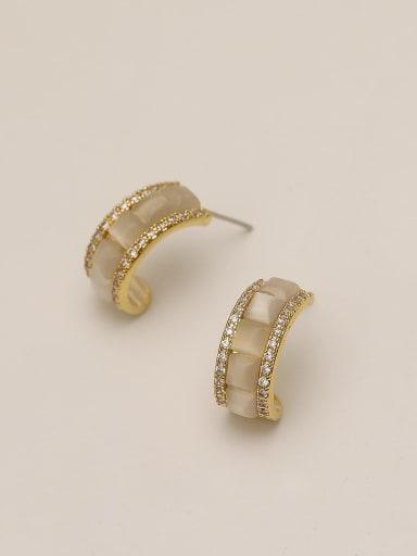 Brass Shell Round Minimalist Stud Earring