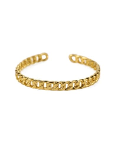 Fine chain Brass Hollow geometry Vintage Cuff Bangle