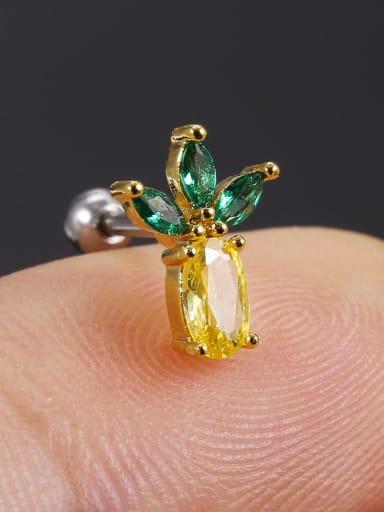 26 pineapple (single) Brass Cubic Zirconia Multi Color Friut Cute Stud Earring