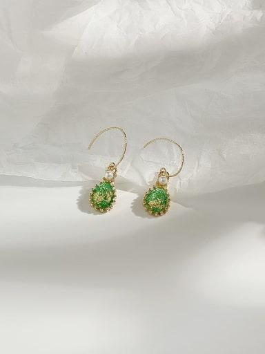 14K gold green Copper Opal Water Drop Dainty Hook Earring