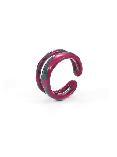 Double ring Zinc Alloy Enamel Irregular Minimalist Stackable Ring
