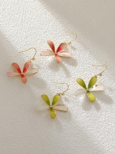 Brass Enamel Flower Minimalist Hook Earring