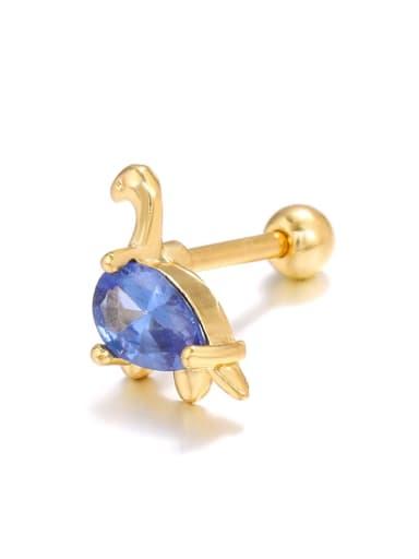 Dark blue dinosaur (single) Brass Cubic Zirconia Multi Color Dinosaur Cute   single Stud Earring