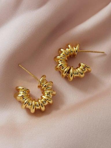Brass Geometric Vintage Stud Earring