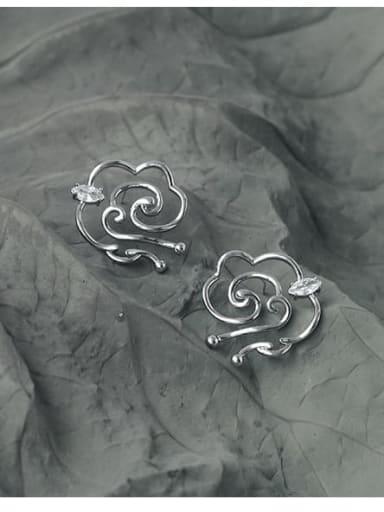 Brass Cubic Zirconia Cloud Minimalist Stud Earring