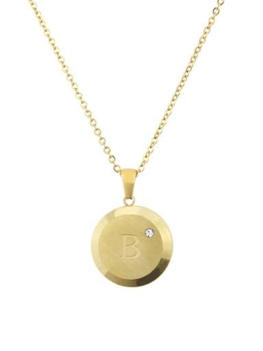 B Titanium Rhinestone 26 Letter Minimalist Initials Necklace