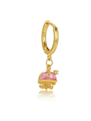 jellyfish Brass Cubic Zirconia Multi Color Ocean animal Cute Huggie Earring