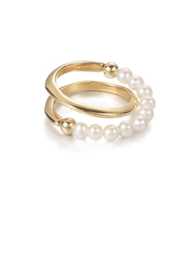 Brass Imitation Pearl Geometric Hip Hop Stackable Ring