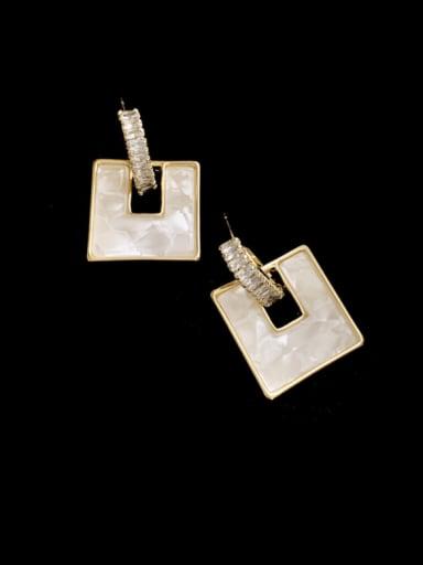 white Brass Shell Geometric Minimalist Drop Earring