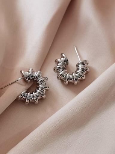 white K Brass Geometric Vintage Stud Earring