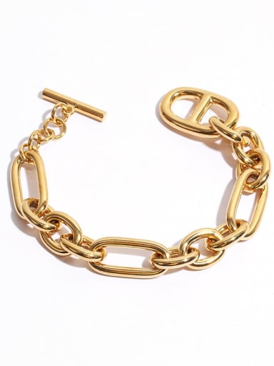 Brass Hollow Geometric Hip Hop Link Bracelet