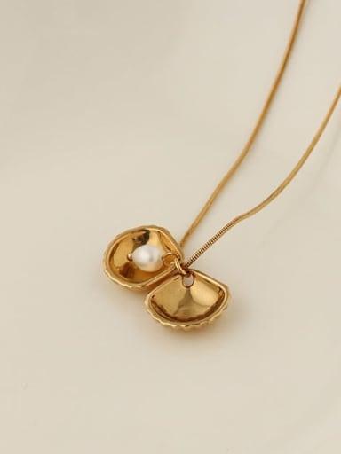 Brass Imitation Pearl Irregular Hip Hop Necklace