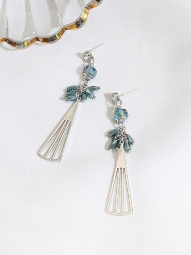 White K light blue crystal Copper Crystal Geometric Minimalist Drop Earring