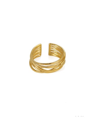 Brass Line Geometric Minimalist Stackable Ring