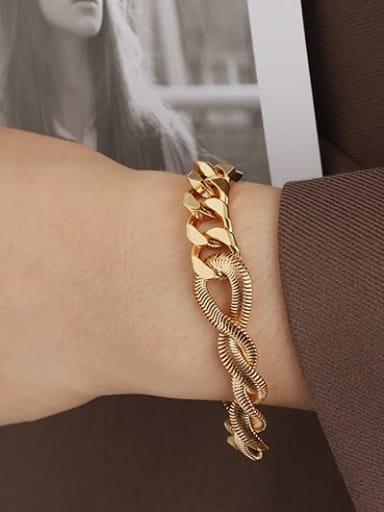 Gold Bracelet Brass Enamel Geometric Minimalist Link Bracelet