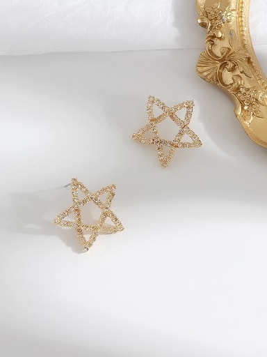 gold Copper Rhinestone Star Minimalist Stud Earring