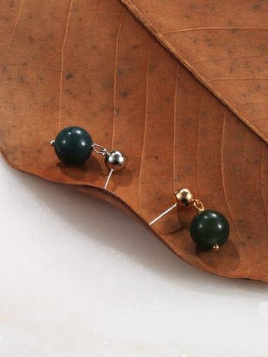 Brass Emerald Geometric Ethnic Stud Earring
