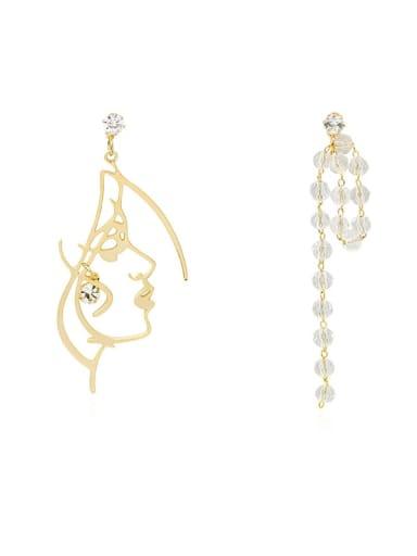 Copper Crystal Tassel Minimalist Drop Earring