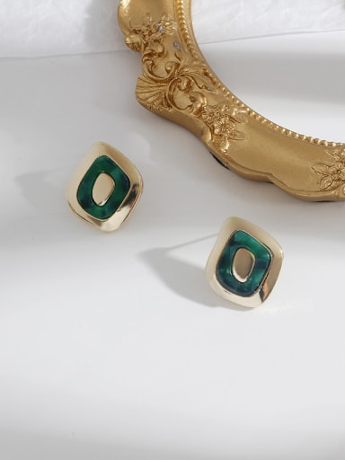 gold green Copper With Enamel Minimalist Geometric  Stud Earring