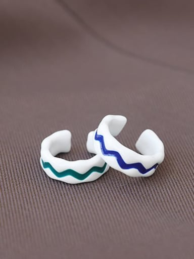 Zinc Alloy Enamel Irregular Minimalist Band Ring