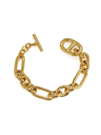 golden Brass Hollow Geometric Hip Hop Link Bracelet