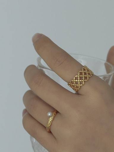 Brass Hollow Geometric Vintage Band Ring