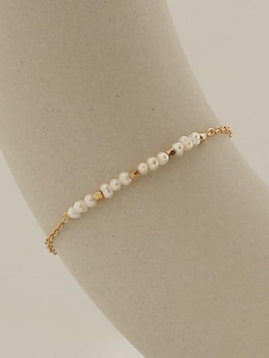 Brass Freshwater Pearl Irregular Minimalist Bracelet